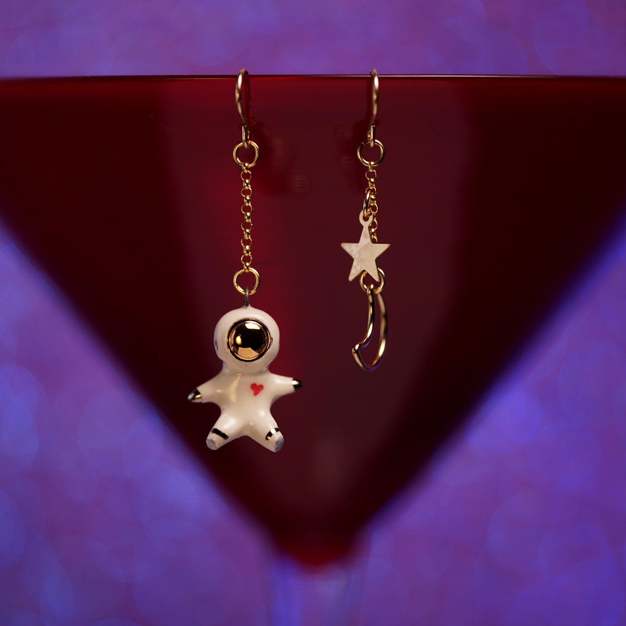 Astronaut with Star and Moon Earrings