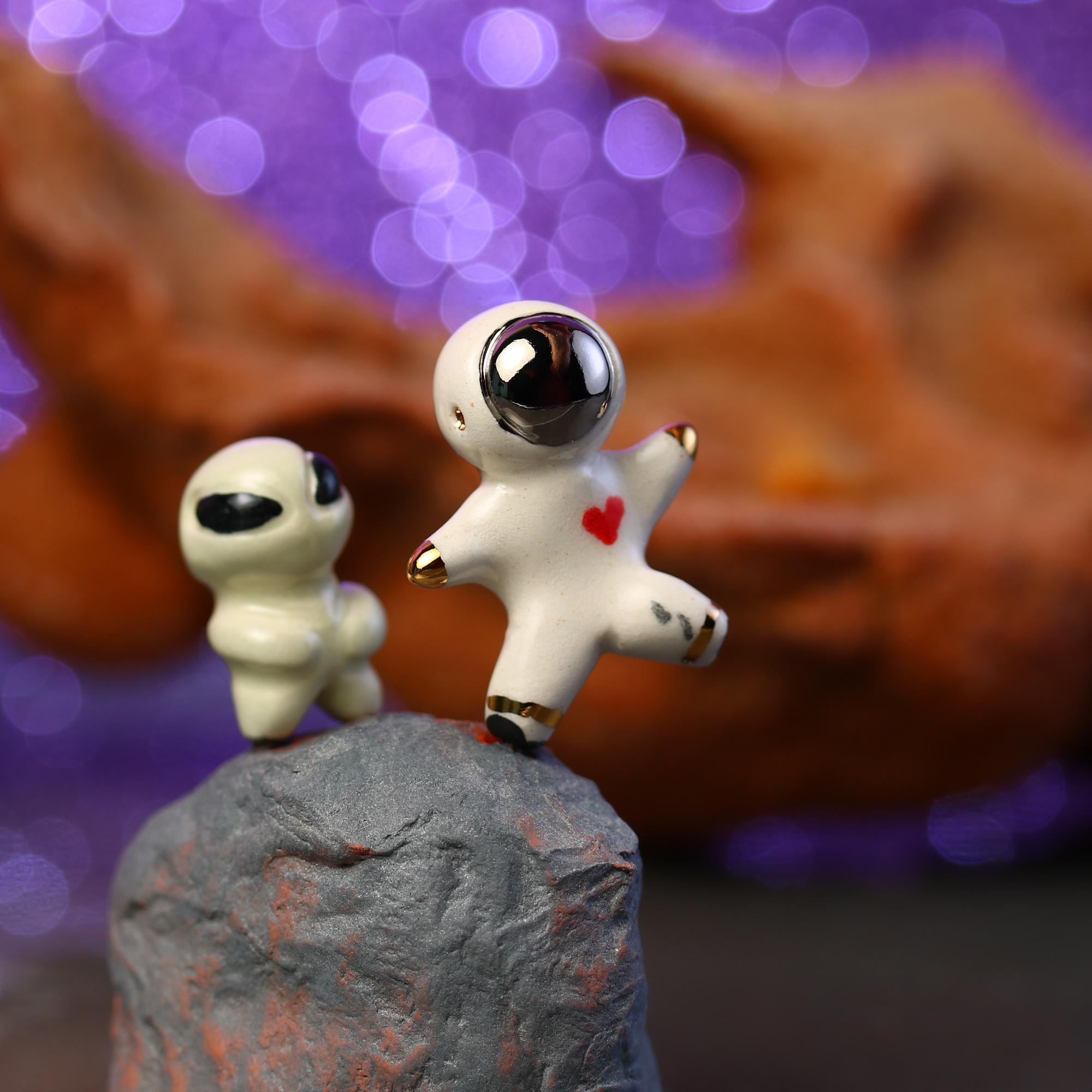 Astronaut and Alien Figurine