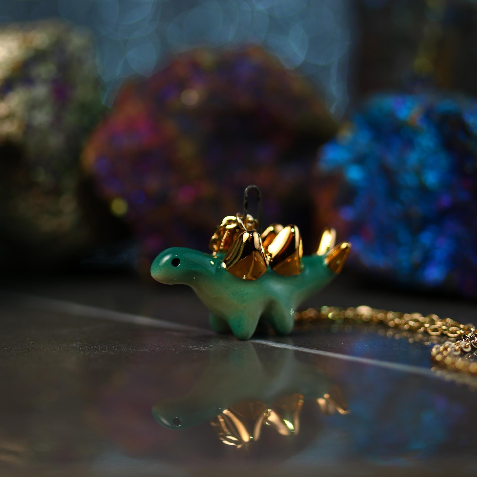 Tiny Stegosaurus Necklace