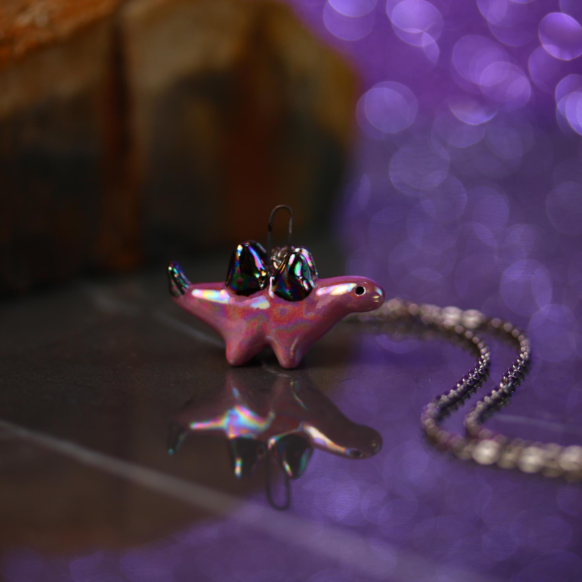 Tiny Rainbow Stegosaurus Necklace