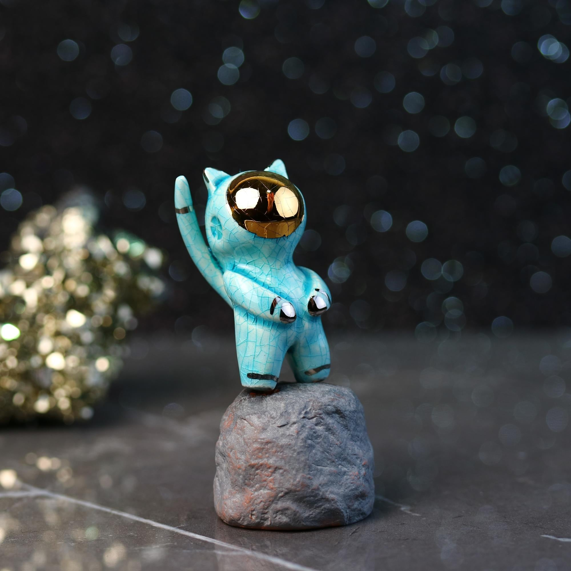 Crackled Catronaut Figurine