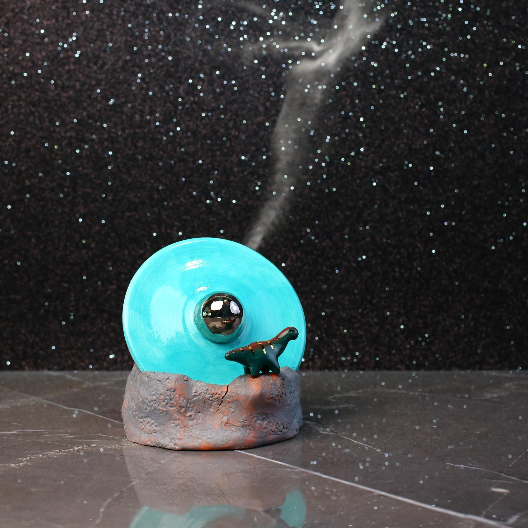 UFO Crash with Dinosaur Incense Burner