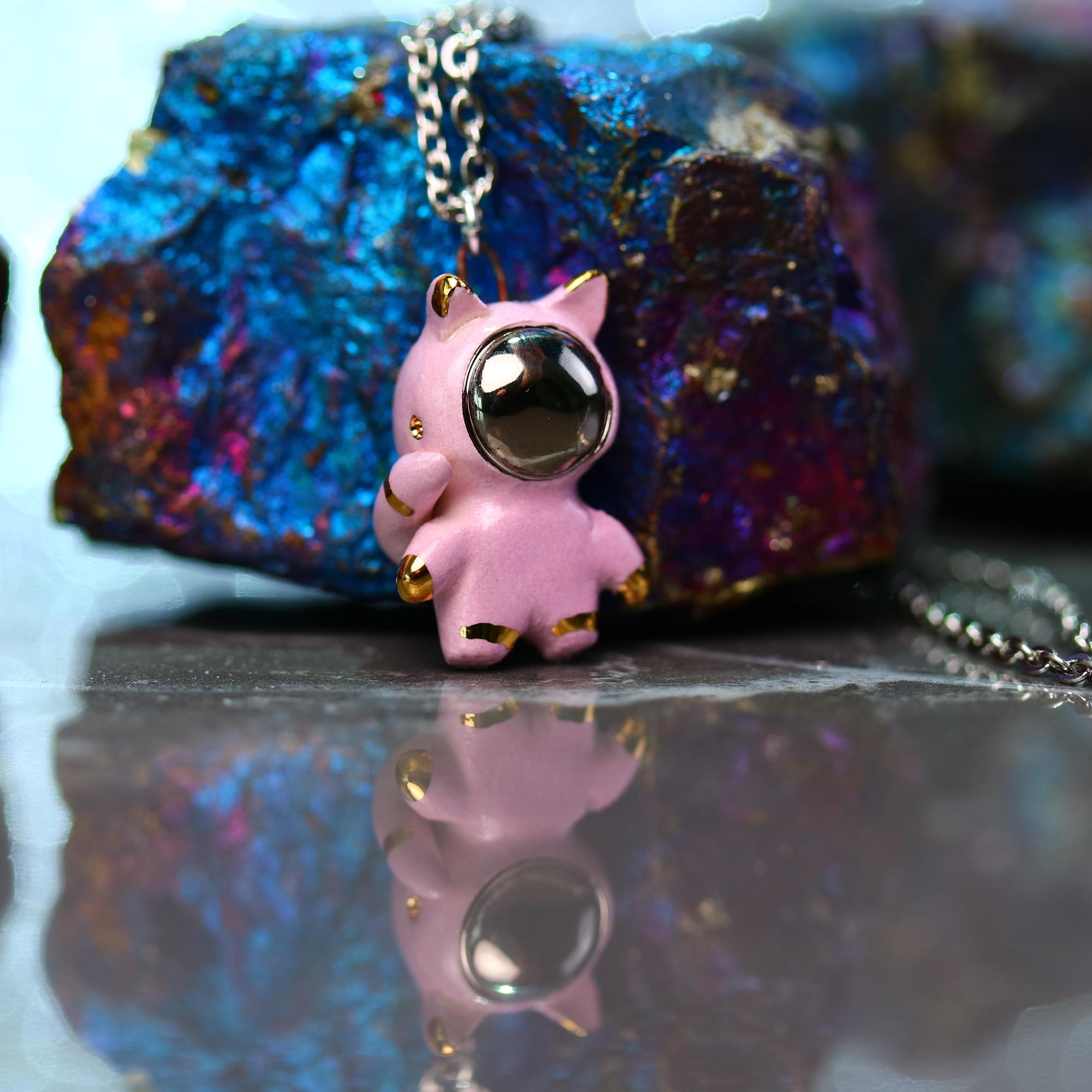 Tiny Catronaut Necklace