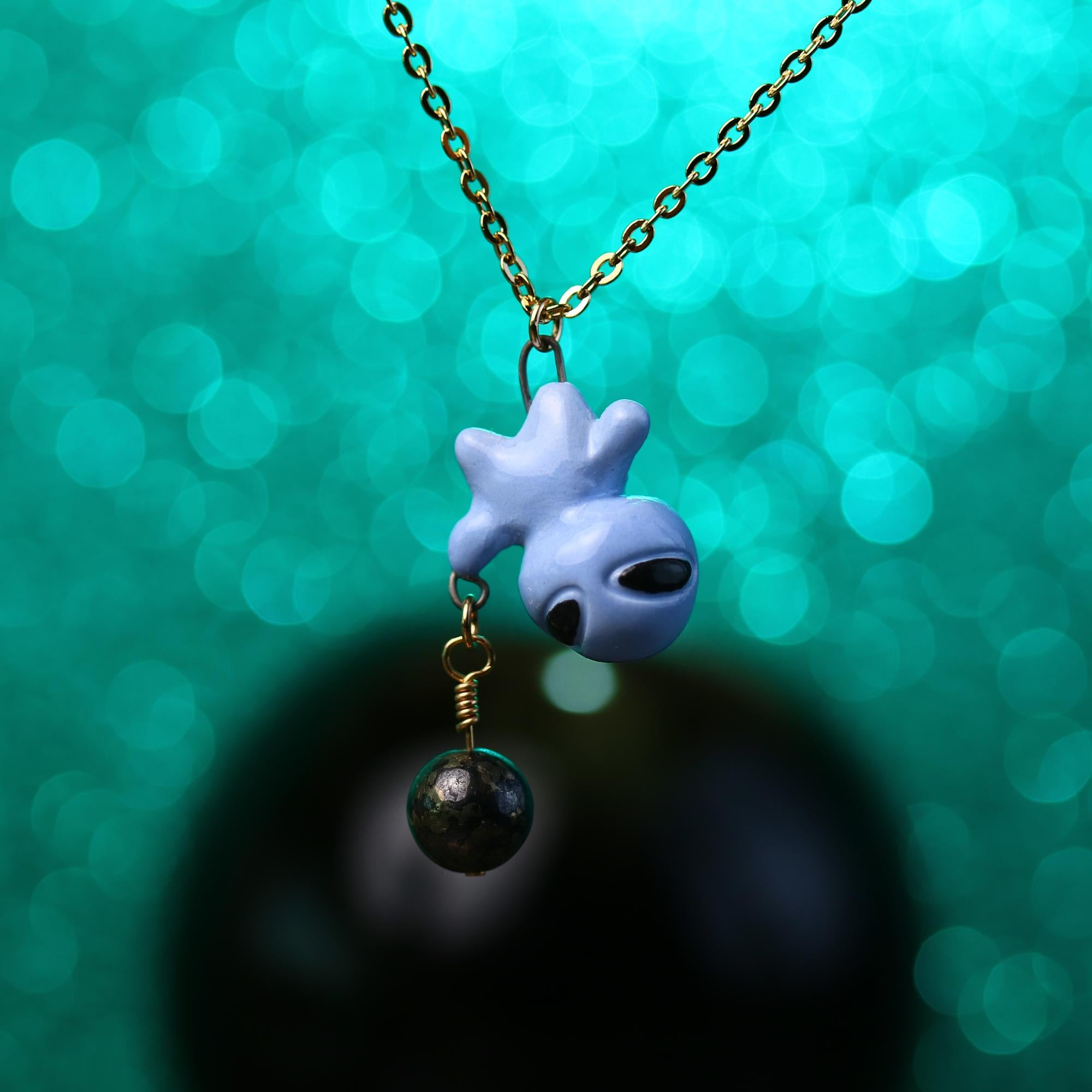 Tiny Planet Charm Alien Necklace