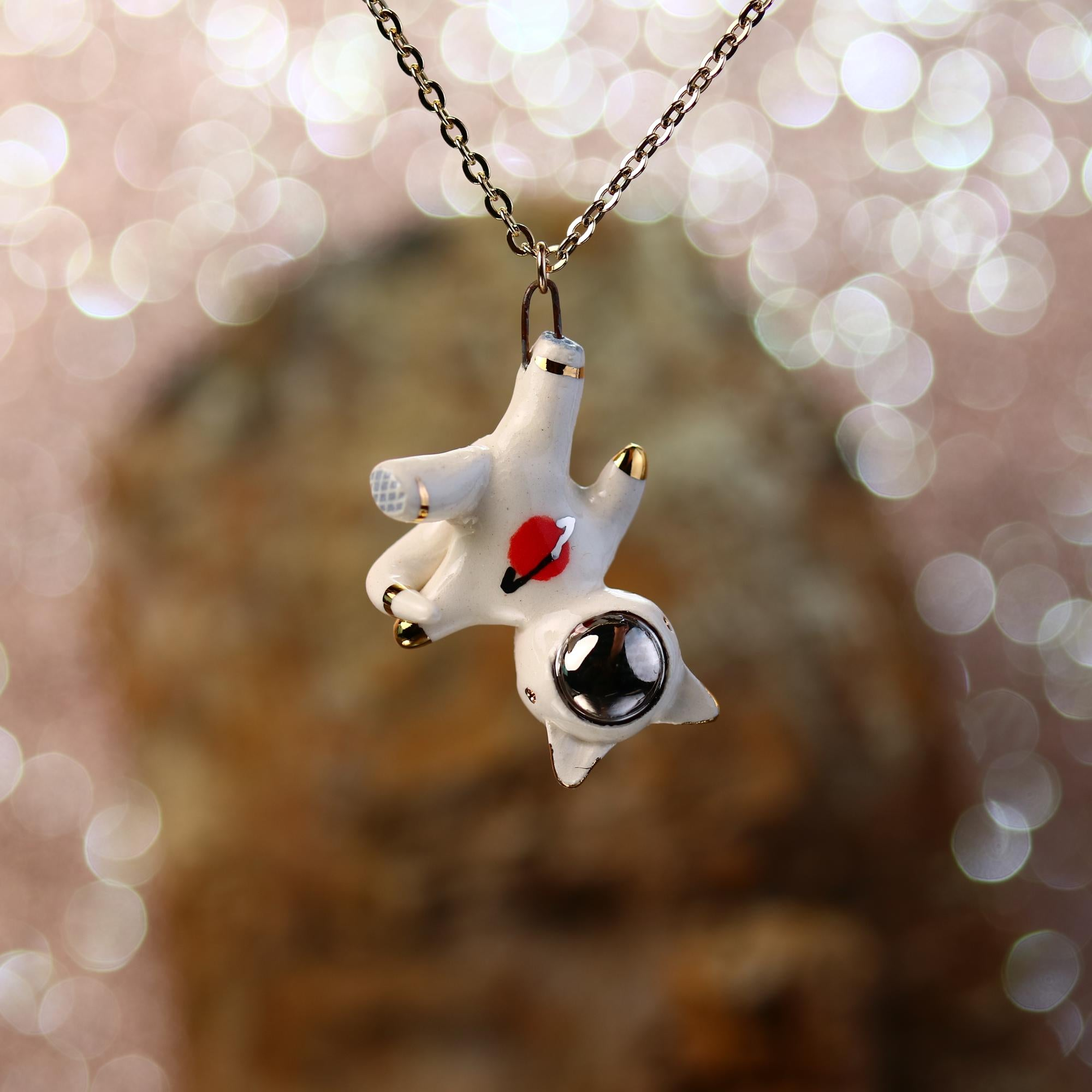 Floating Planet Catronaut Necklace