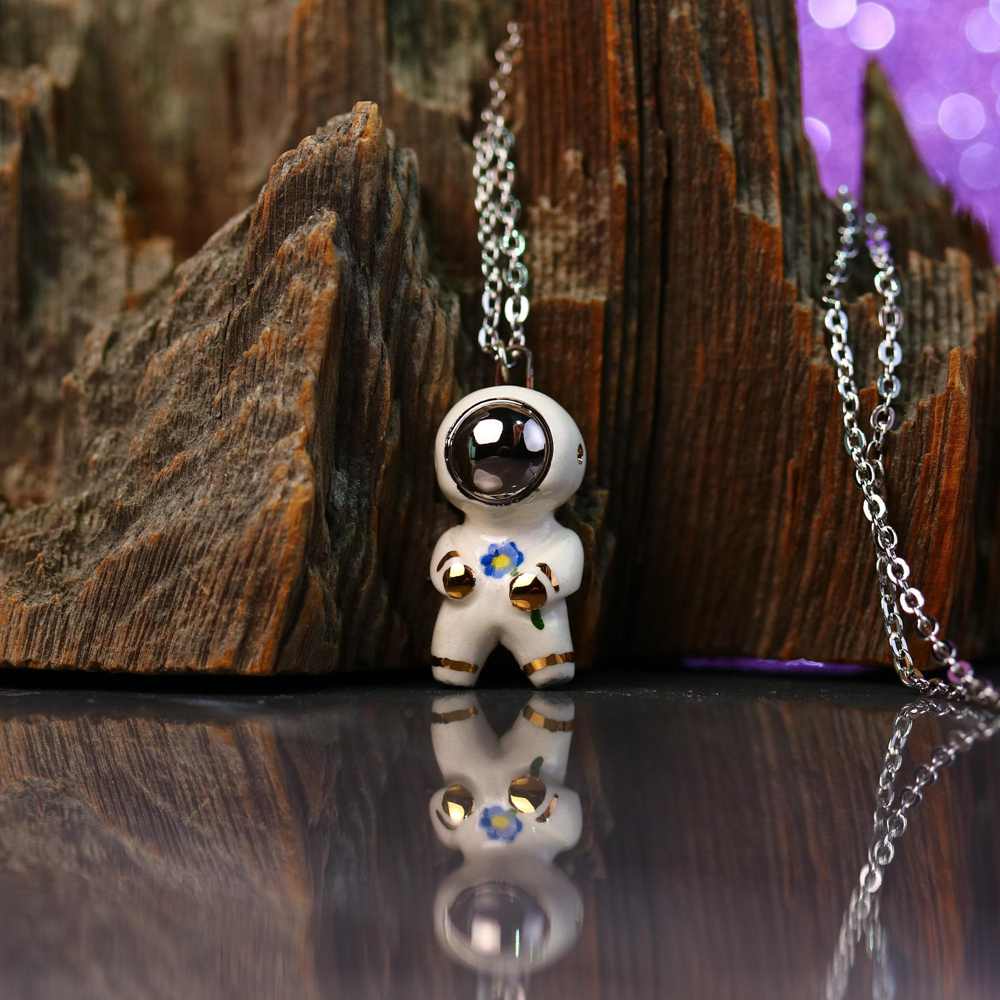 Little Flower Astronaut Necklace