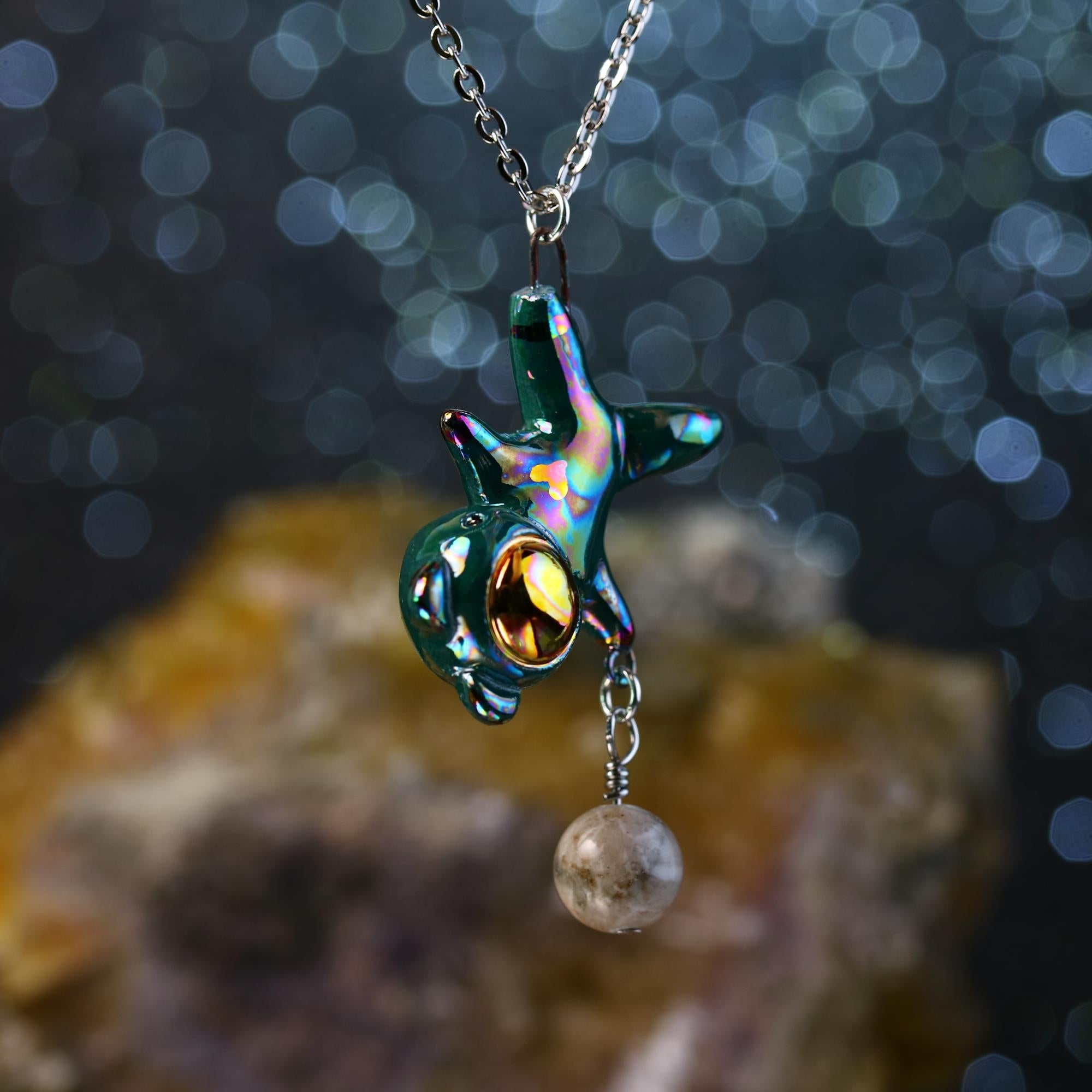 Rainbow Floating Planet Charm Bearnaut Necklace