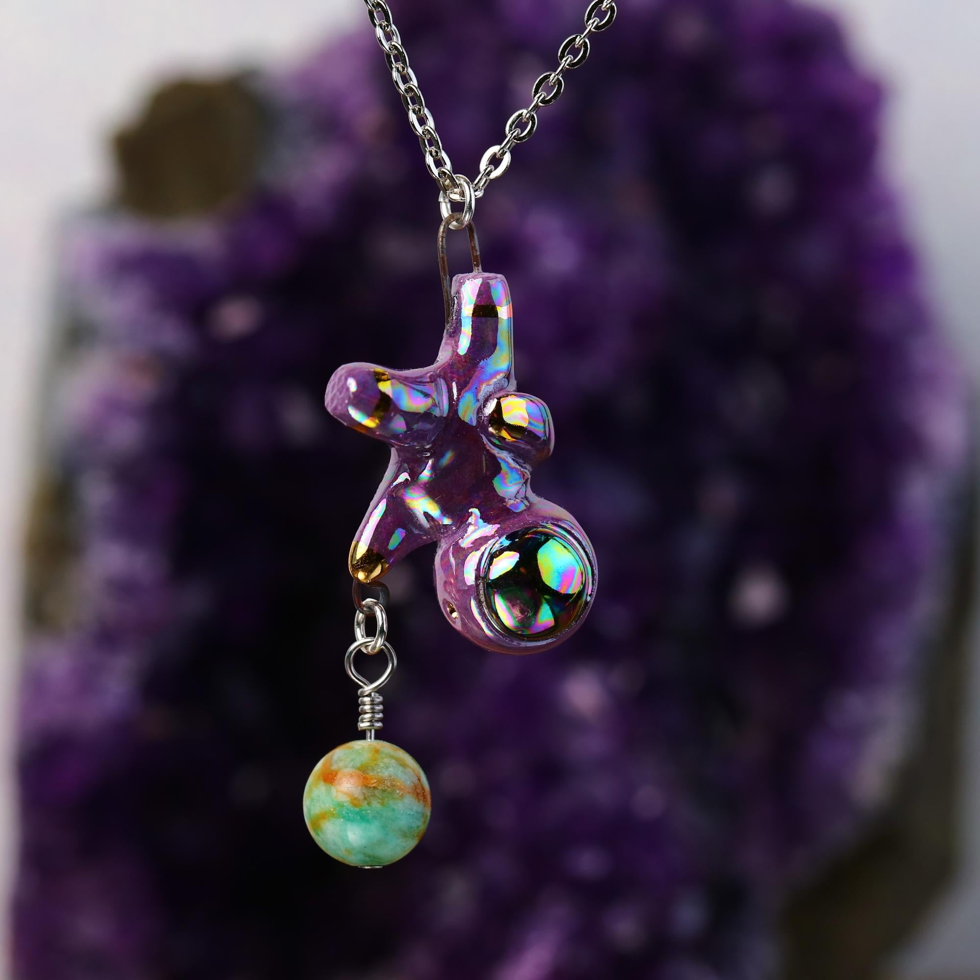 Rainbow Floating Charm Astronaut Necklace