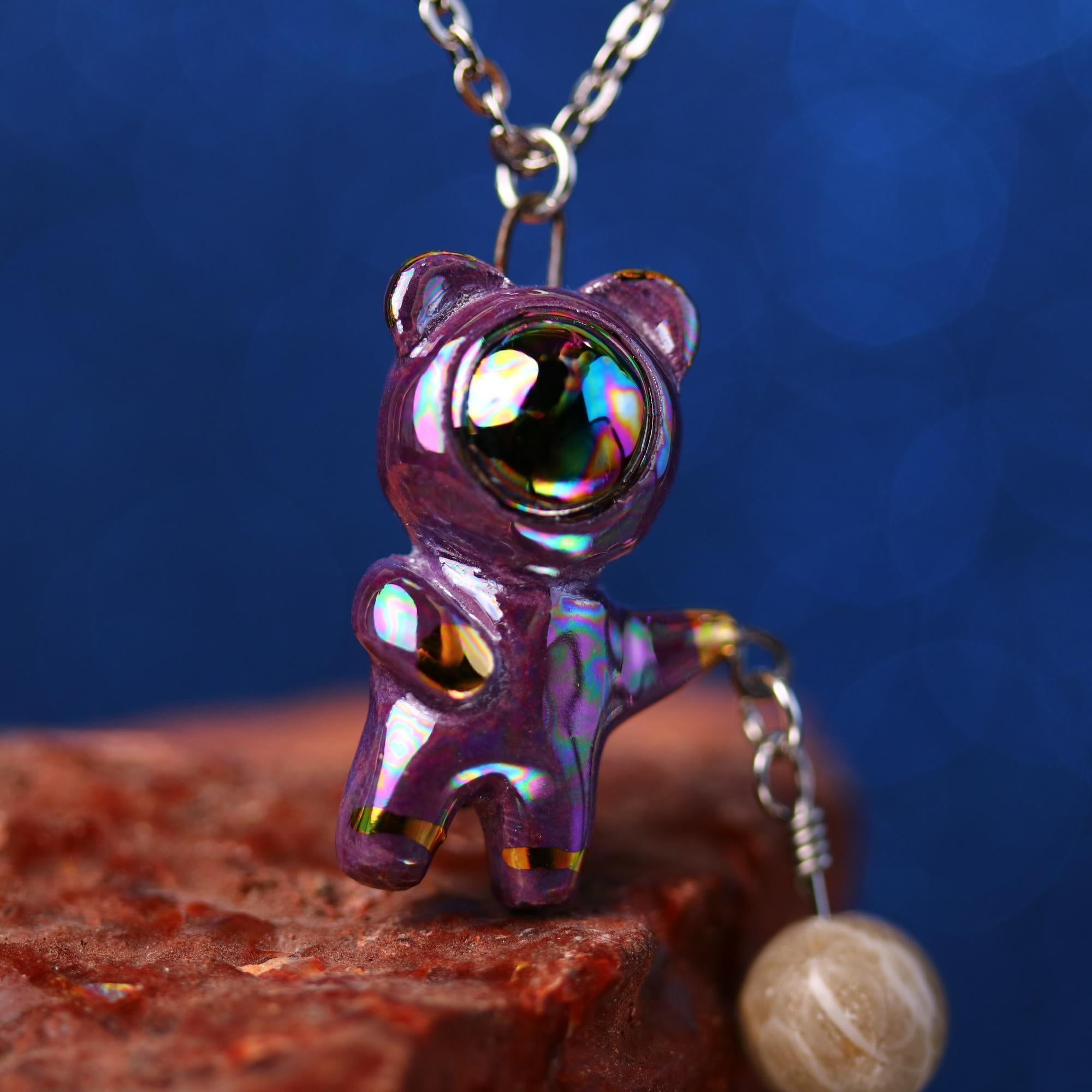 Rainbow Charm Bearnaut Necklace