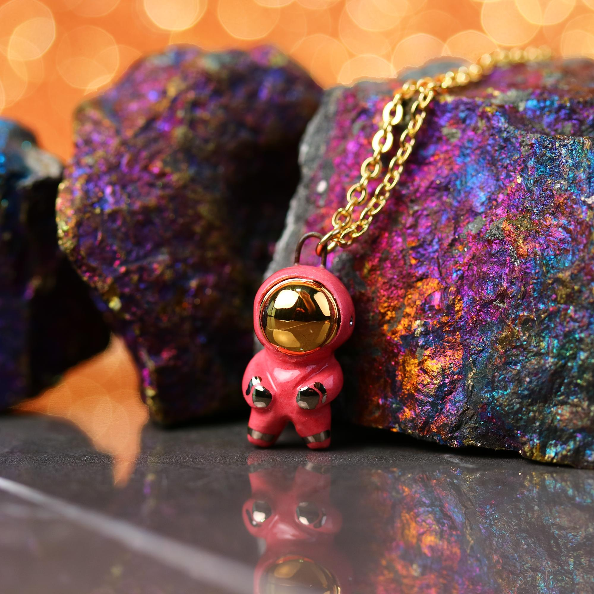 Little Pink Astronaut Necklace