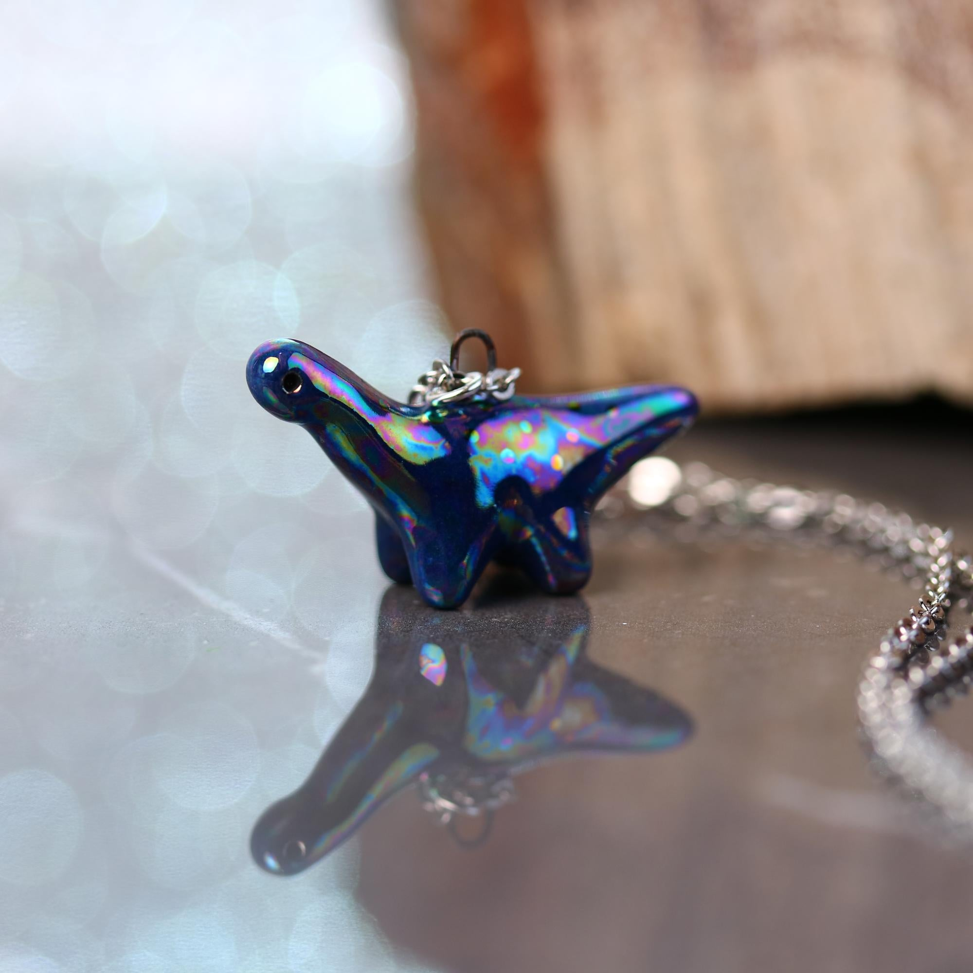 Tiny Rainbow Dinosaur Necklace