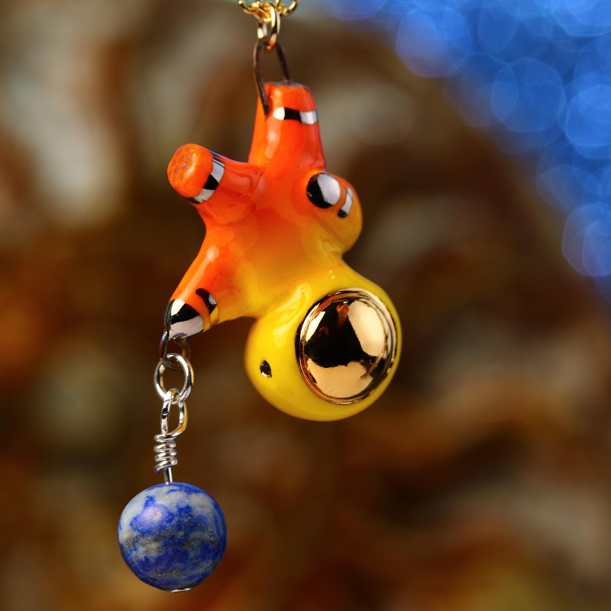 Floating Planet Charm Astronaut Necklace