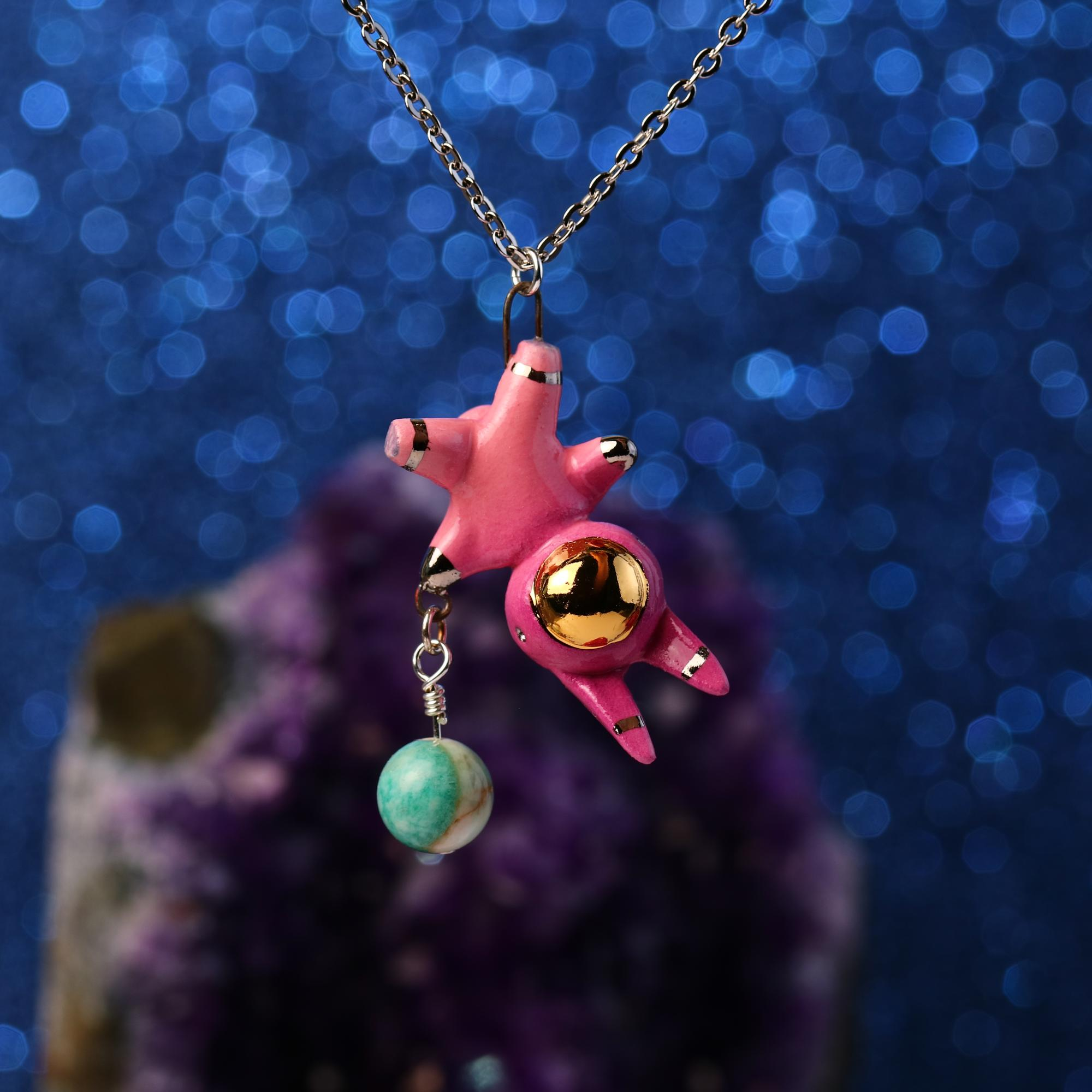 Floating Planet Charm Bunnynaut Necklace