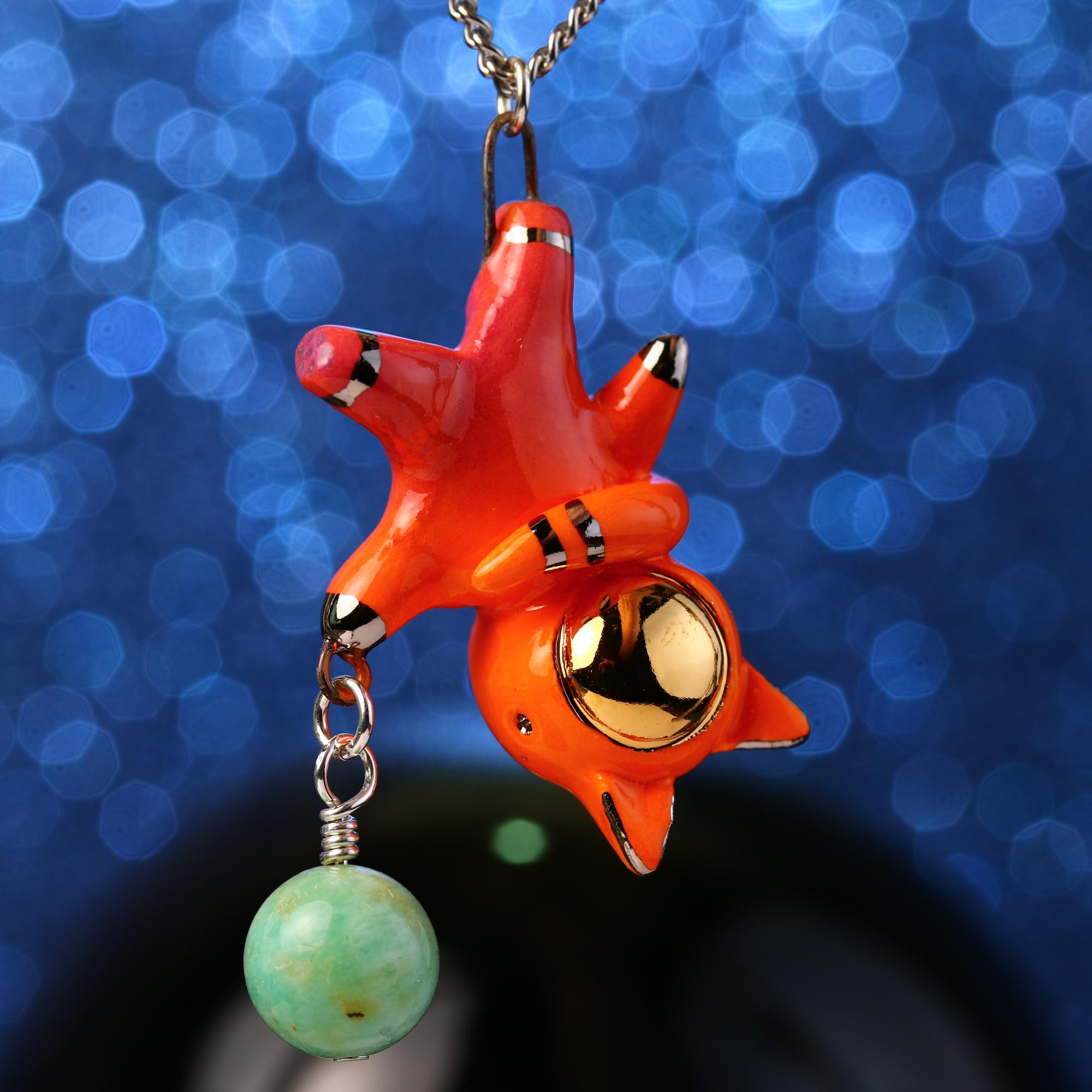 Floating Planet Charm Catronaut Necklace