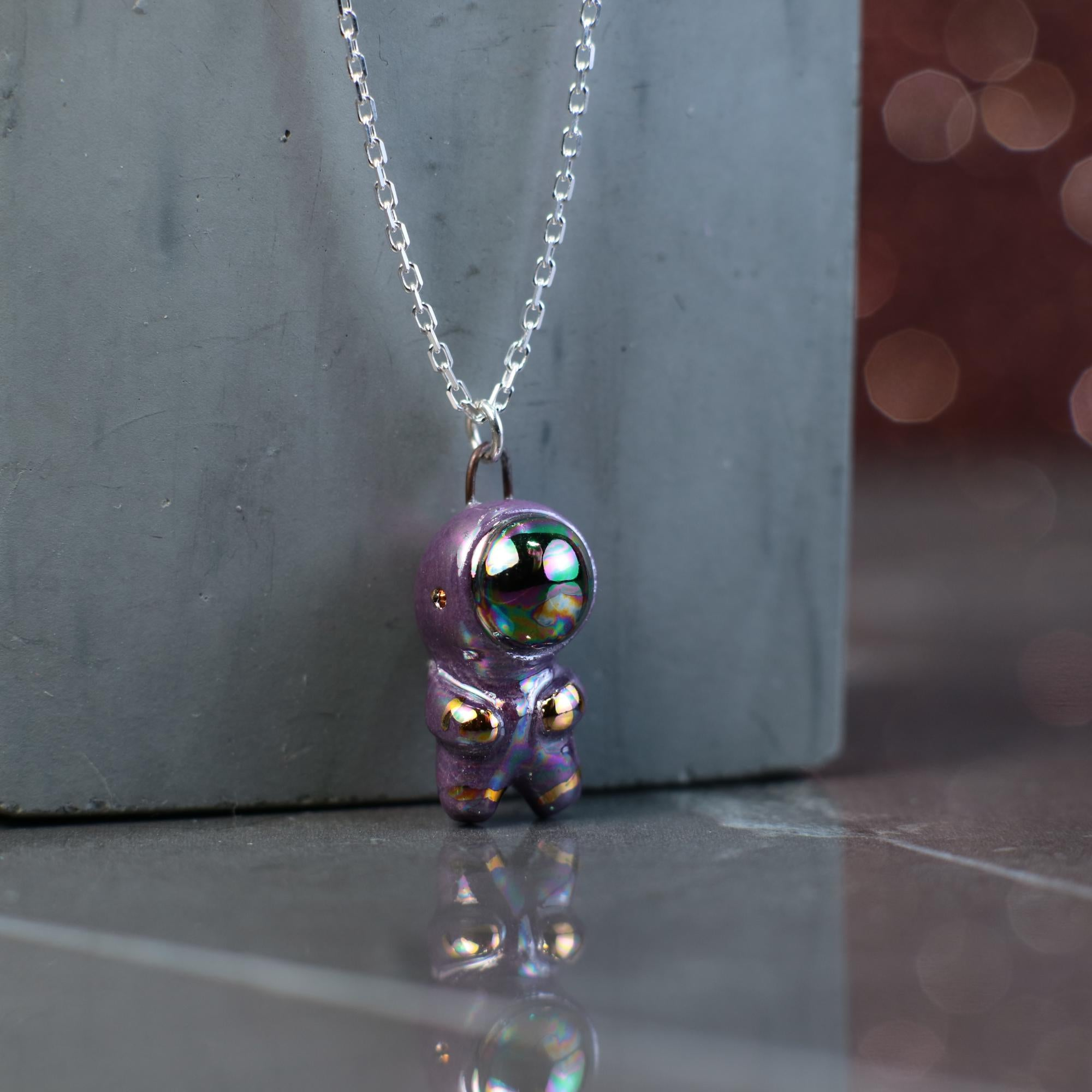 Tiny Rainbow Astronaut Necklace