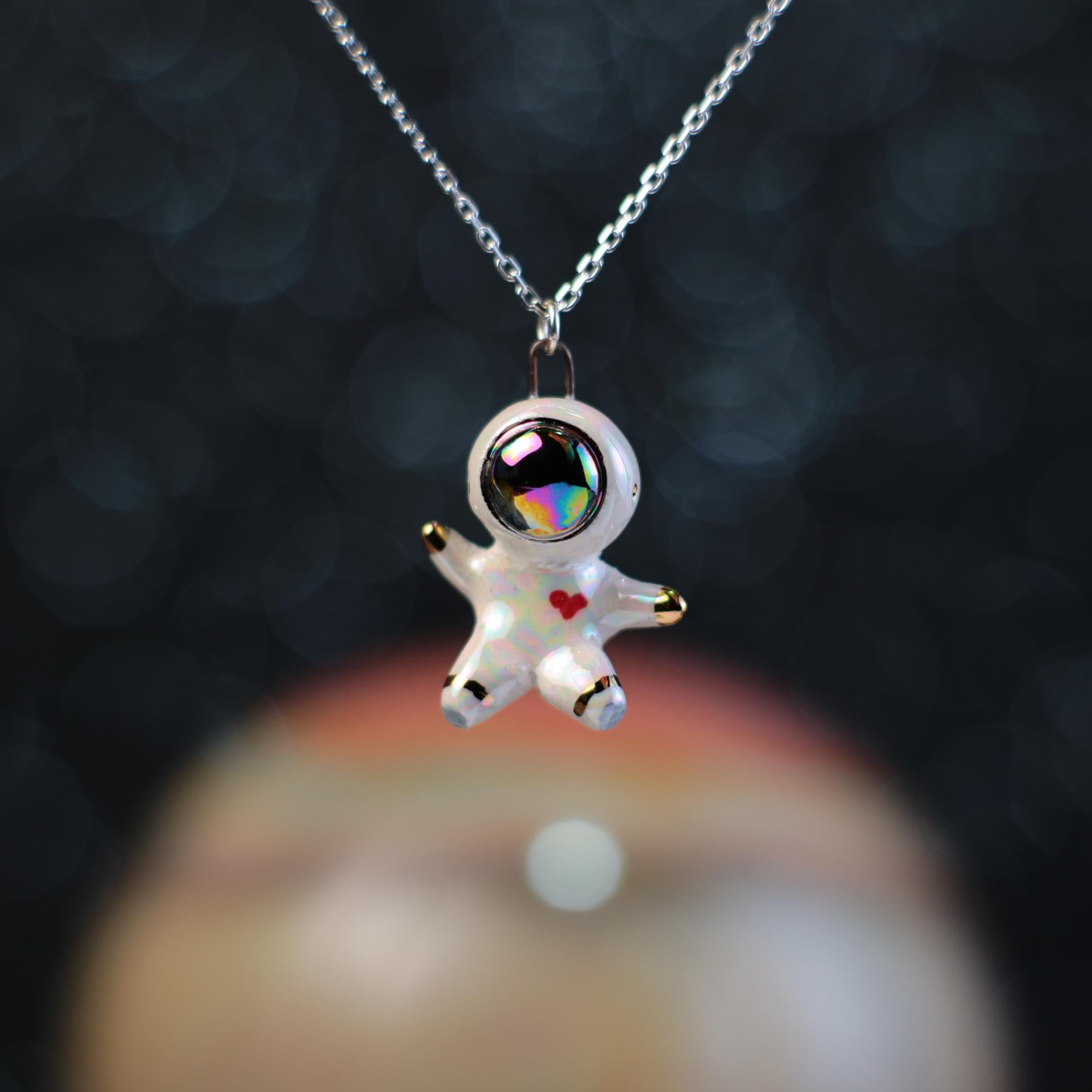 Rainbow Floating Heart Astronaut Necklace