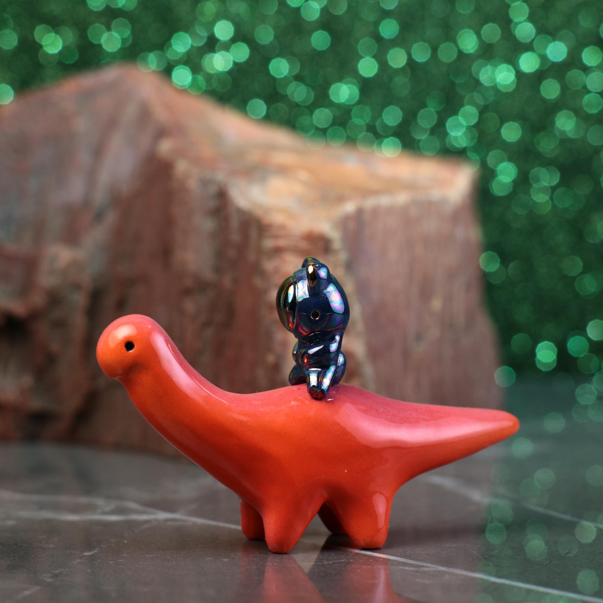 Rainbow Bearnaut Riding Dinosaur Figurine
