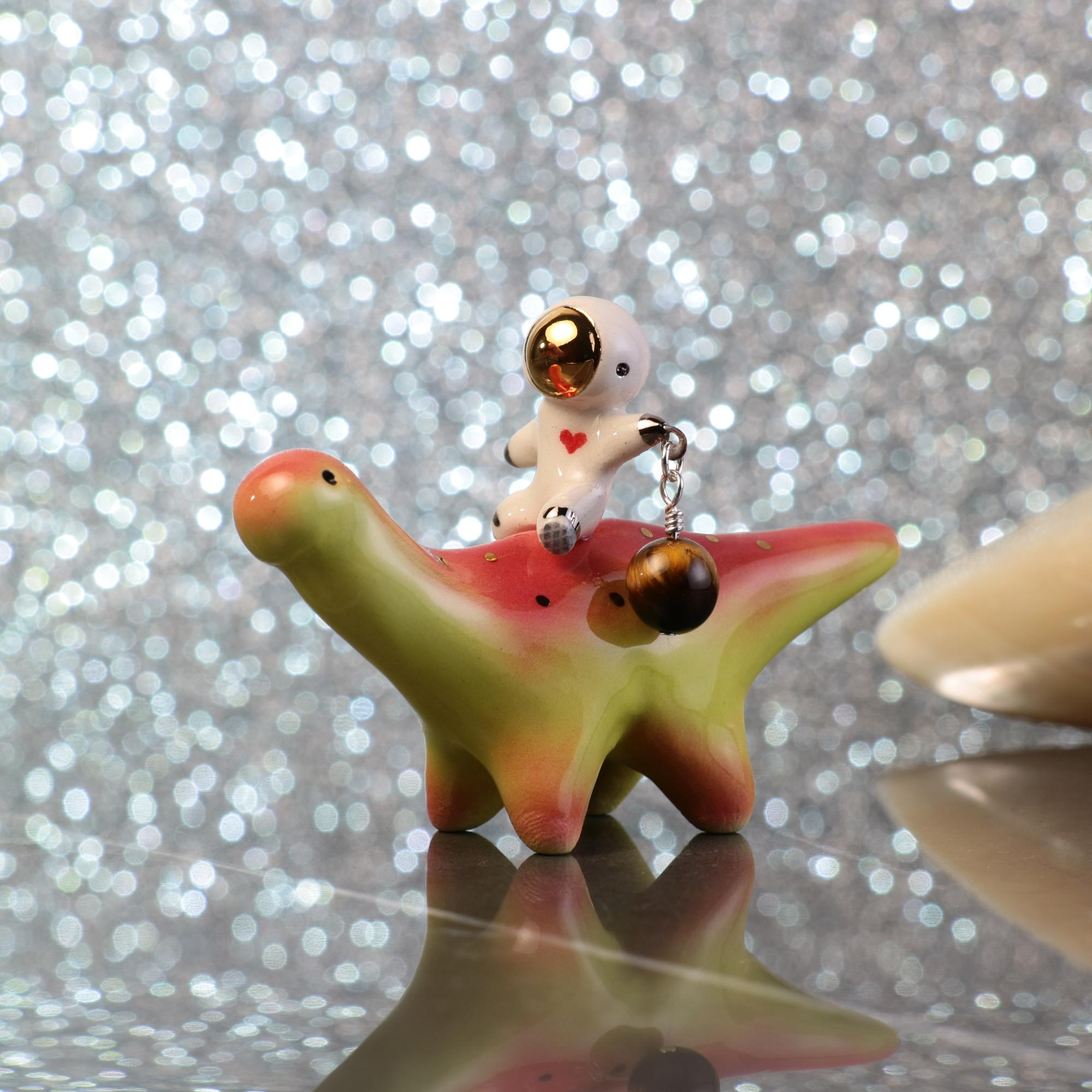 Charm Heart Astronaut Riding Dinosaur Figurine