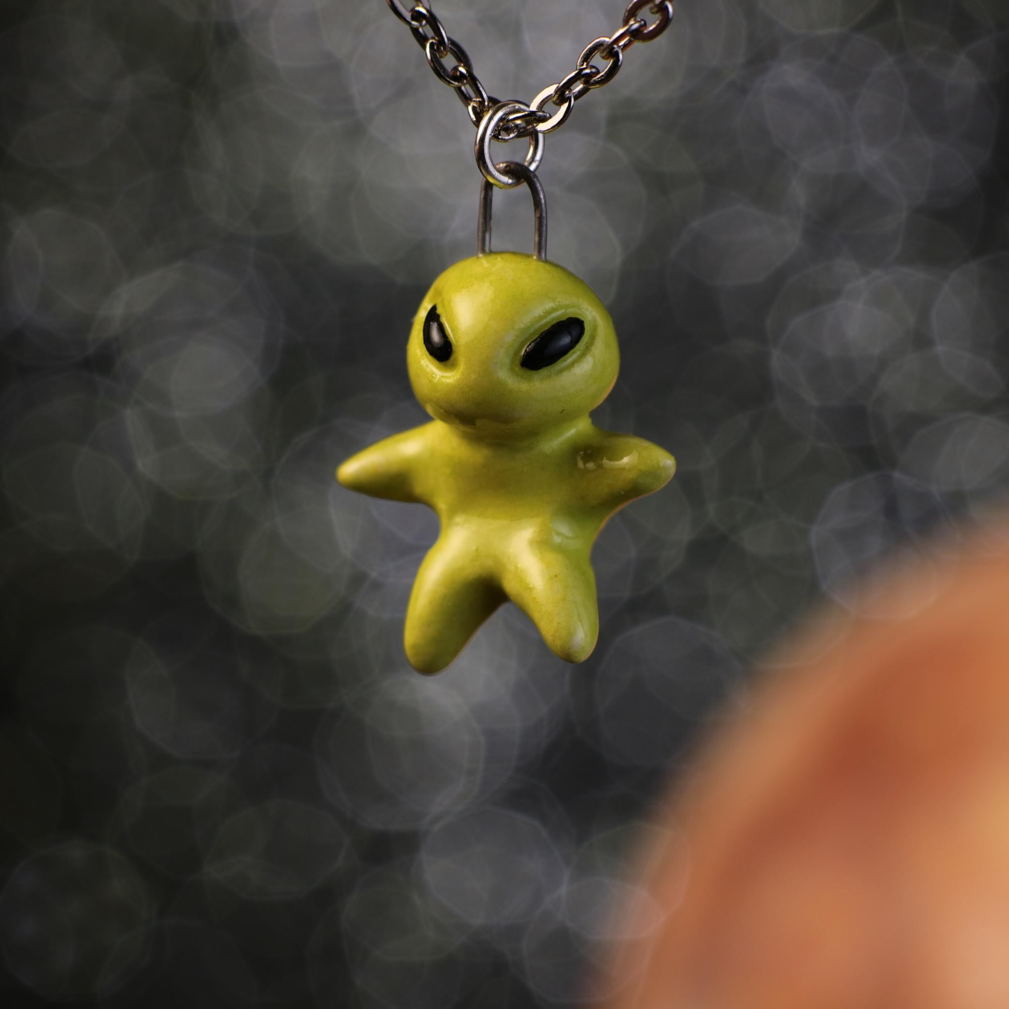 Tiny Floating Alien Necklace