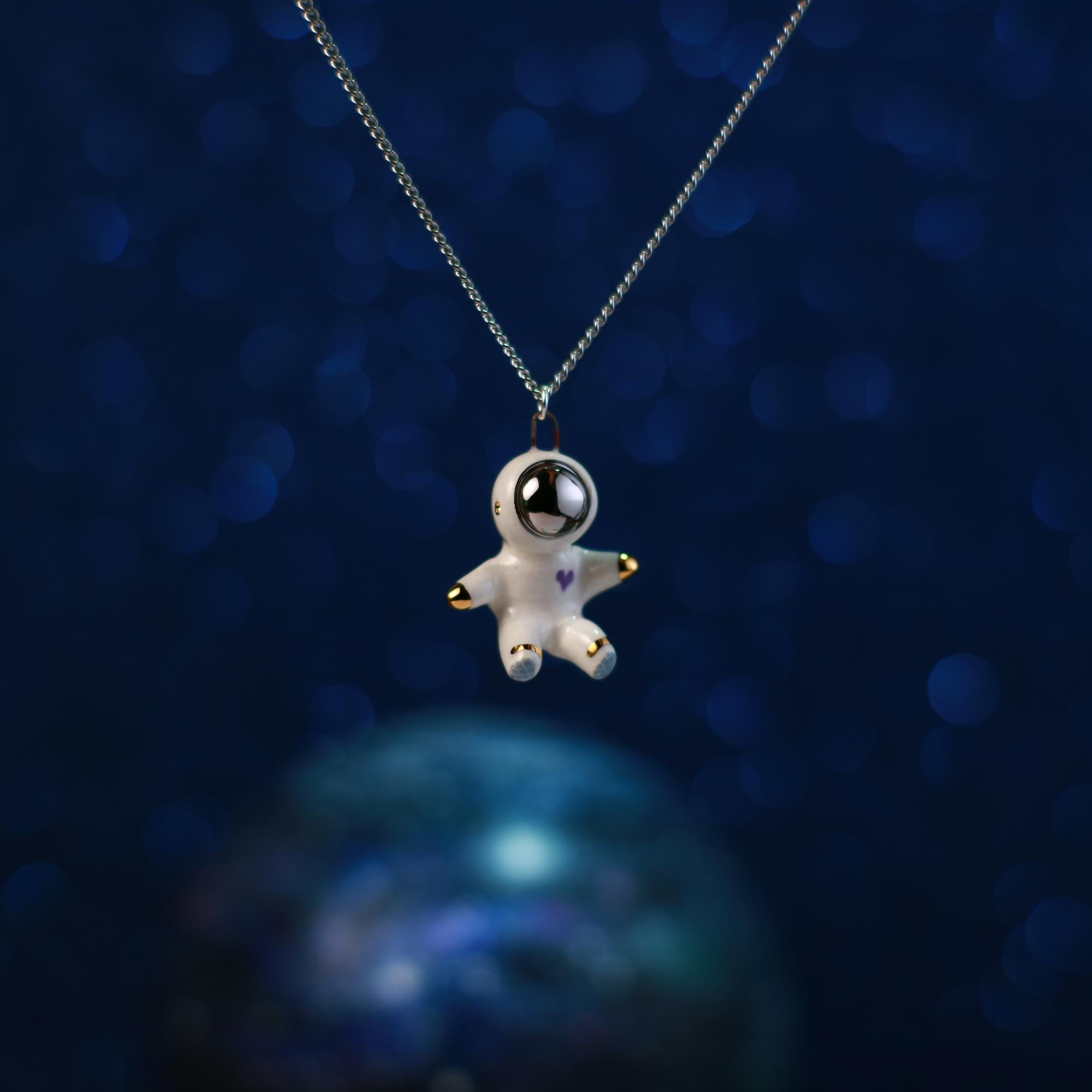 Floating Heart Astronaut Necklace