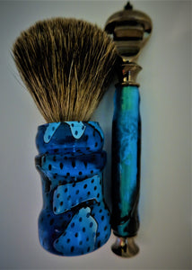 Blue Mesh Acrylic Shaving Brush & Razor Set