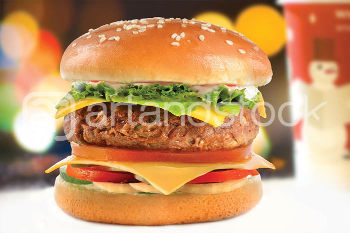 ID 111 Chicken Burger with Lettuce and Cheese - Artandstock