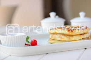 ID 118 Pancake with Red Cherry and Honey - Artandstock