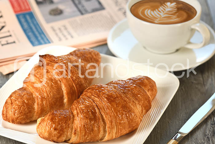 ID 133 Breakfast with Croissant, coffee latte - Artandstock