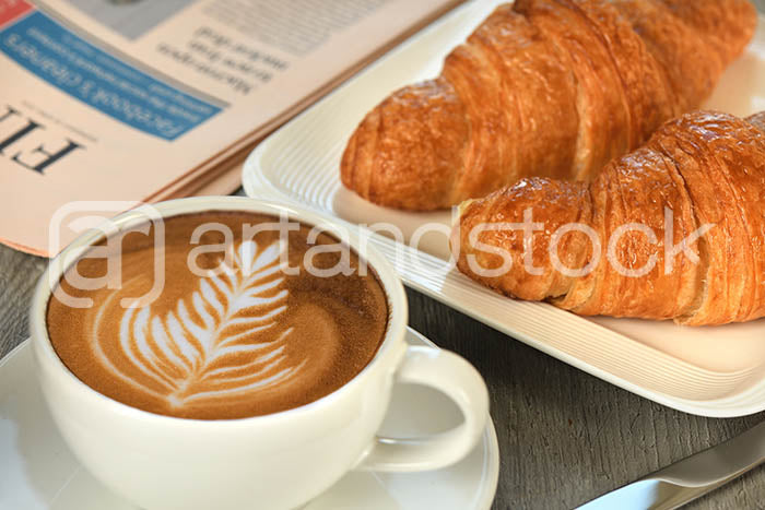 ID 134 Breakfast with Croissant and Coffee latte - Artandstock