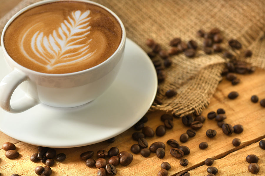 ID 135 Cafe Latte with Coffee Beans - Artandstock
