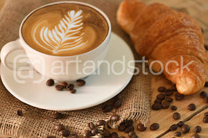 ID 136 Cafe Latte with croissant and Coffee beans - Artandstock
