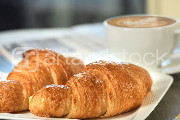 ID 145 Breakfast with Croissant and Cafe latte - Artandstock