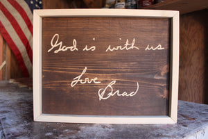 Carved Handwritten Sign // Custom Keepsake