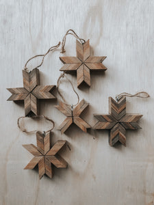Set Of 5 Barnwood Ornaments
