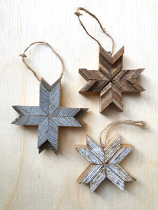 Set Of 3 Barnwood Ornaments