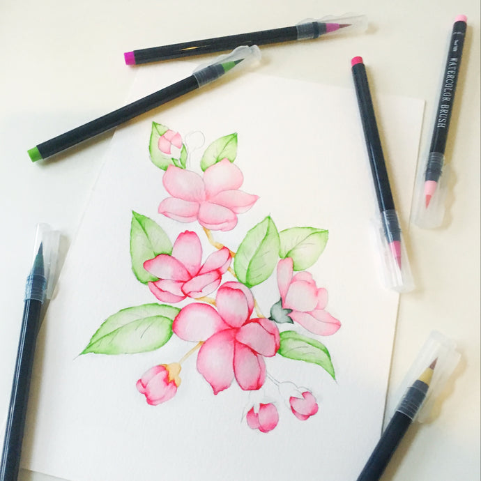 Magenta Flowers with Watercolor Brush Markers