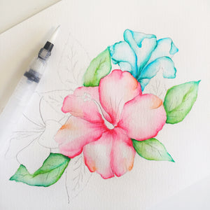 Watercolor Hibiscus Process