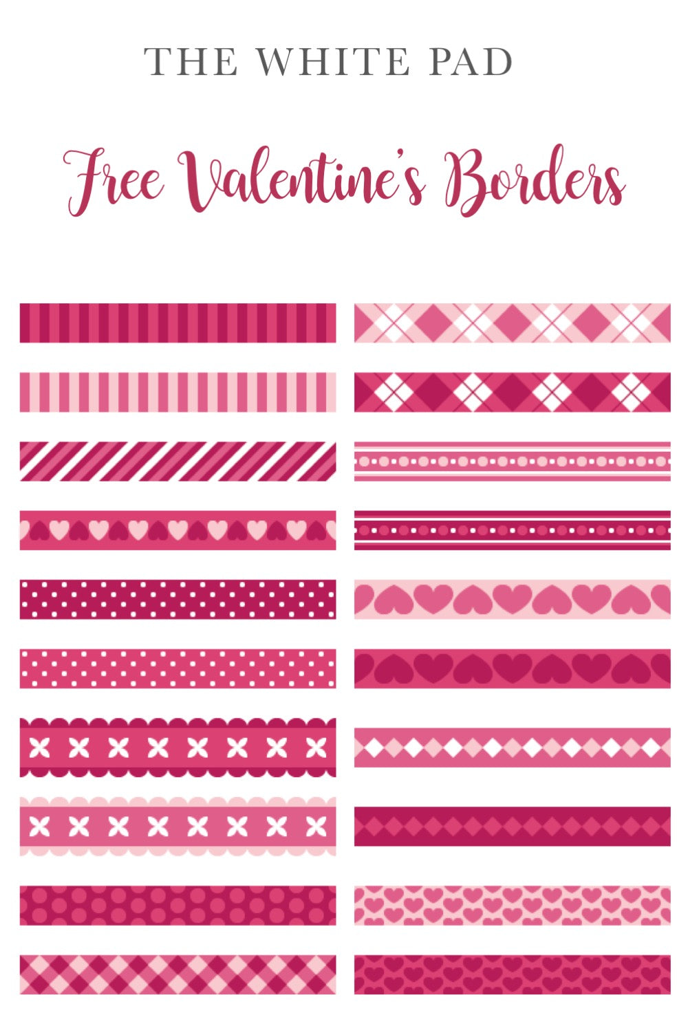 Free Valentine's Border Freebie for your Planner