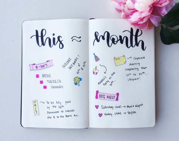 Monthly Overview Bullet Journal