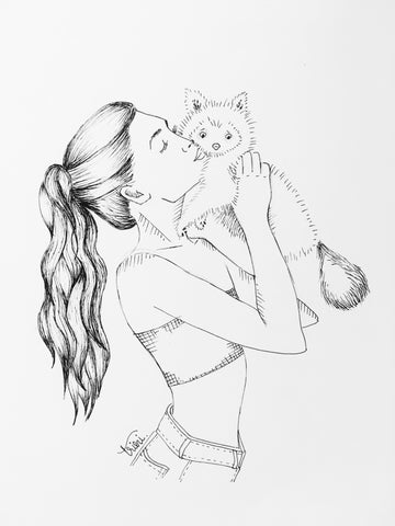 Girl with Dog INK