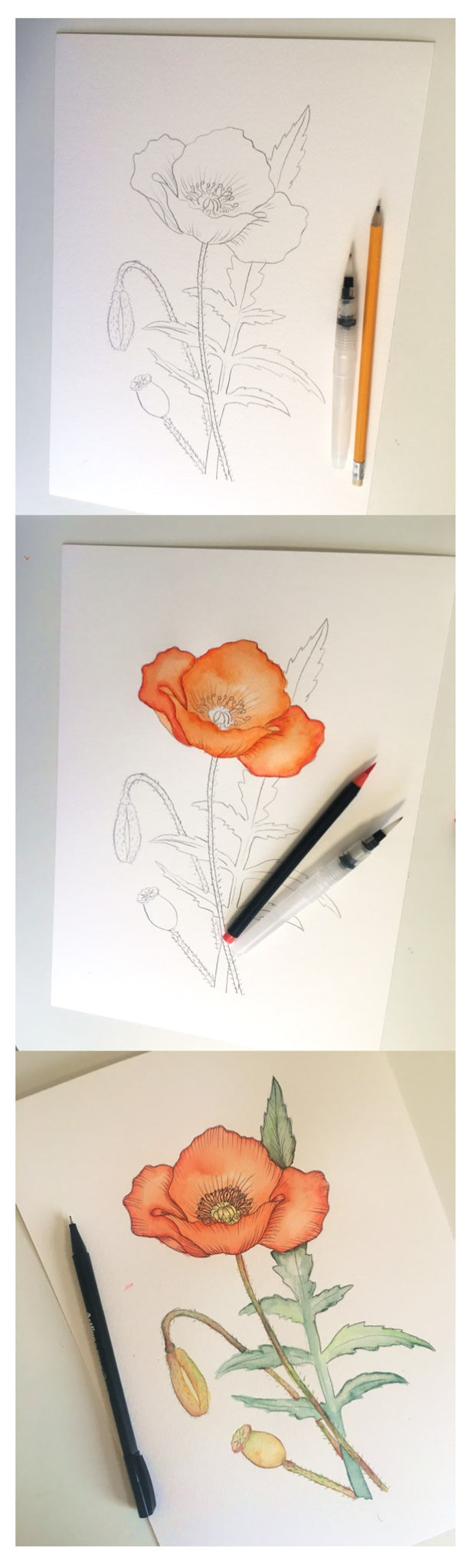 Red Poppy Watercolor Process with watercolor brush markers