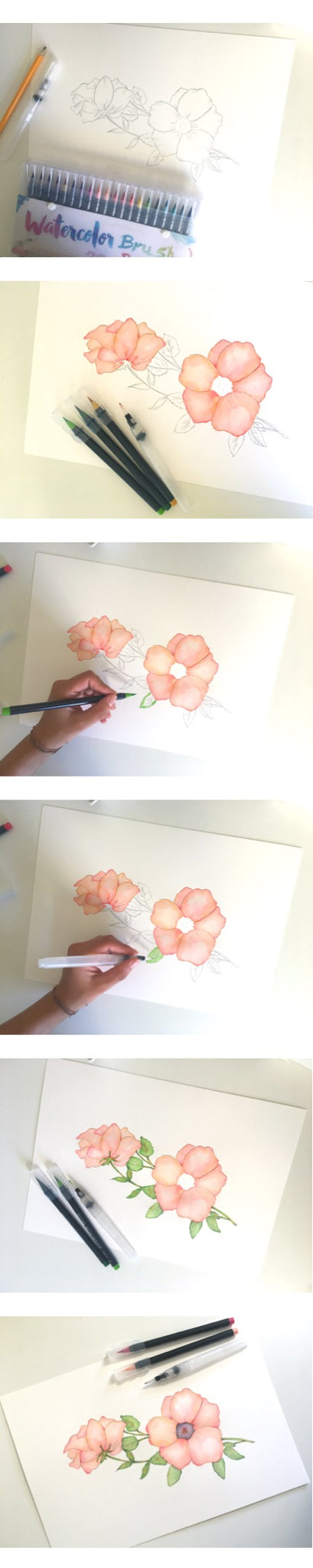 Pink Poppy watercoloring with brush markers step by step