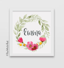 Personalized Name Flower Wreath