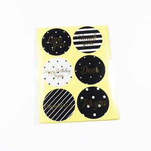 Modern Black and Foil Gold Stickers, set of 60