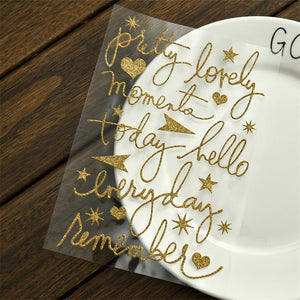 Glitter Gold Handwritten Stickers, Set of 10