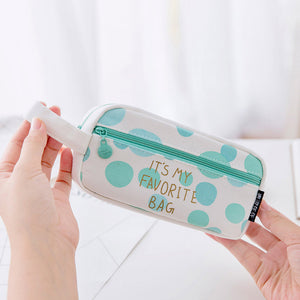 Mint Canvas with Gold Quote Pencil Case, Large