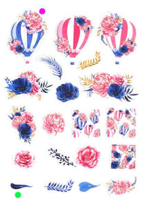 Hot Air Balloon & Peonies Stickers, Set of 20