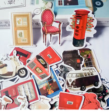 London Themed Vintage Stickers, set of 30