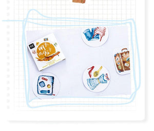 Travel Watercolour Stickers, set of 40