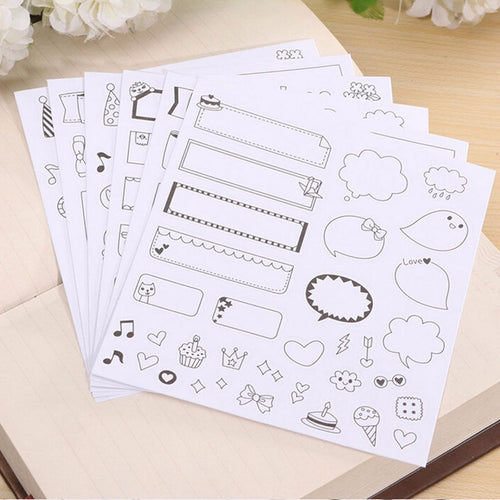 DIY Paper Stickers for bujo and planning, set of 6 pages